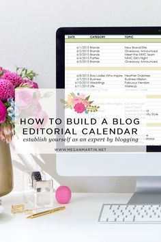5 tips to help you build a blog editorial calendar you can actually stick to and to establish yourself as an expert to your target audience. See it on www.meganmartin.net - How to Build a Blog Editorial Calendar on Megan Martin Creative
