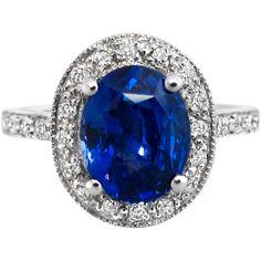 Vintage Oval Blue Sapphire & Diamond Ring: LOVE