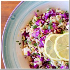 Barley salad with red cabbage