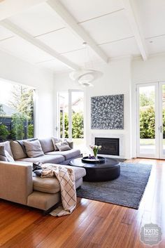 Loving Gary Mehigan's relaxed and spacious lounge room. Our SUBI rug is right at home! My Living Room, Home And Living, Living Area, Living Room Decor, Living Spaces, Modern Living, Luxury Living, Style At Home, Room Interior