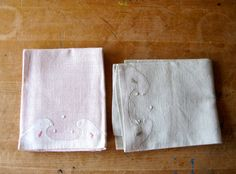 $39.50 - Two Soft #Linen Tea #Towels - Faded Pink Green - entirely hand stitched! #ShabbyChic