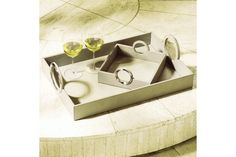 Beige Leather Serving Tray-Ring Handle | Mitchell Williams