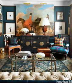 Houzz Tour: Personal and Plaid When it comes to interior design, Scot Meacham Wood wears his heart on his tartan sash Chinoiserie Elegante, Classic Decor, Classic Style, Room Wall Colors, Wall Colours, Dark Colors, Rich Colors, Equestrian Decor, Beautiful Homes