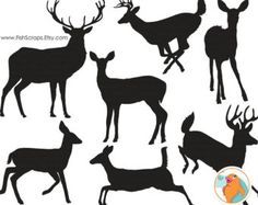 Deer Clip Art Silhouettes & Outlines, Buck and Doe Party, Christmas Reindeer ClipArt, Animal ClipArt Digital Graphics, Deer PNG Images is part of Deer Silhouette Stock Vectors Clipart And Illustrations - Hirsch Silhouette, Fox Silhouette, Silhouette Images, Deer Art, Stencil Patterns, Kirigami, Line Art, Art Projects, Pagan
