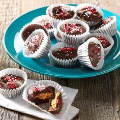 Homemade Peanut Butter Cups Recipe -I like using pretty mini muffin liners and topping these peanut butter cups with colored sprinkles to coordinate with the holiday we're celebrating. People can't believe how simple it is to make this irresistible candy with gooey, peanut butter centers. —LaVonne Hegland, St. Michael, Minnesota