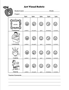 visual art rubric for Elementary students