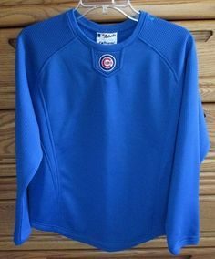 For sale in our Ebay store...click photo for full details!  Chicago Cubs Majestic Therma Base Blue Fleece Pullover Large #MLB #Baseball Shirt  #Majestic #shirt #Chicago #Cubs #worldseries
