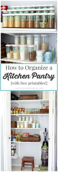 This post has so many great ideas for kitchen pantry organization! I need to do this! | JustAGirlAndHerBlog.com
