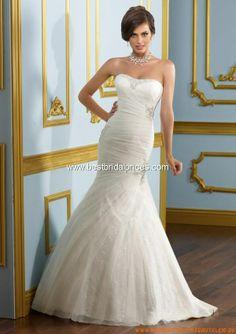 Sexy elegantes Brautkleid aus Satin im Meerjungfrauenstil mit langer Schleppe 2013
