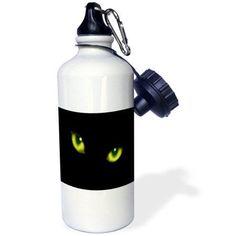 3dRose Green Eyes of a Black Cat, Sports Water Bottle, 21oz
