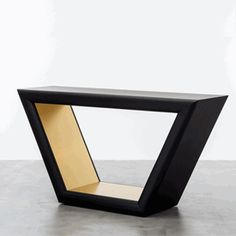 Customizable Design: Contemporary Ebony Oak Centerpiece Console Table * Various Lacquer & Finishes Available * 35 x 65 x 20 inches * Request A Quote
