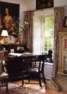 lovely home office office Live Your Life mermaid art work decor beach house luscious home office design ideas Office Design English Country Manor, English House, English Library, English Cottage Style, English Style, English Interior, English Decor, Home Office, Cottage Interiors