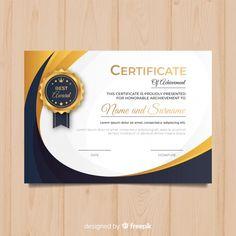 Modelo de diploma criativo com elementos. Certificate Images, Certificate Of Achievement Template, Certificate Format, Free Certificates, Certificate Design Template, Training Certificate, Food Graphic Design, Graphic Design Brochure, Free Psd Flyer Templates