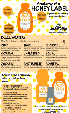 Bee supplies - Honey Labelling Tips from Blue Sky Bee Supply – Bee supplies Honey Jar Labels, Honey Label, Beer Labels, Bottle Labels, Honey Packaging, Chocolate Packaging, Design Packaging, Coffee Packaging, Bottle Packaging