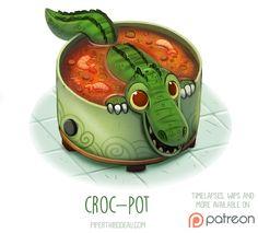 Daily Paint Croc-Pot by Piper Thibodeau on ArtStation. Cute Food Drawings, Cute Animal Drawings, Kawaii Drawings, Cartoon Art, Cute Cartoon, Animal Puns, Animal Food, Cute Creatures, Funny Art
