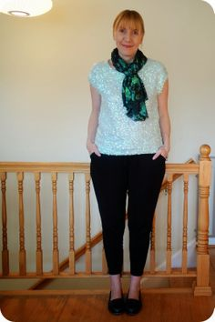 7f8ace2d14 My Superfluities JCP Sequined Top Pure Collection Pants and Boden Loafers