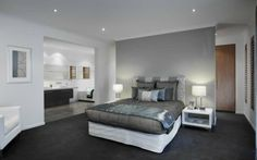 Whittaker, New Home Images, Modern House Images - Metricon Homes - NSW Master Bedroom Interior, Bedroom With Ensuite, Home Decor Bedroom, Bedroom Ideas, New Home Designs, Home Design Plans, Bed In Middle Of Room, Bedroom Floor Plans, Bedroom Layouts