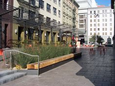 "Mint Plaza in San Francisco is described by the Friends of Mint Plaza (FoMP) as ""a community gathering spot– a space to take a break, bring lunch, read a book or chat with a friend.""  The plaza also manages local stormwater and its design - by CMG Landscape Architecture and Sherwood Design Engineers - responds to the San Francisco's Public Utilities Commission Stormwater Program guidelines."