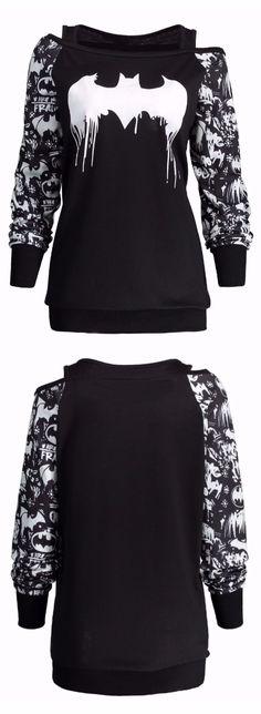 Plus Size Bat Print Halloween Sweatshirt
