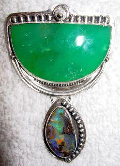 Chelle' Rawlsky included chrysoprase, boulder opal in matrix sterling pendant  #ChelleRawlsky
