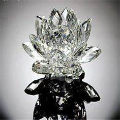 Free shipping 8cm transparent  crystal Lotus decoration crystal gifts crafts Christmas gifts