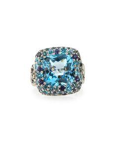 John Hardy Batu Klasik Square White Topaz Ring, Size 7