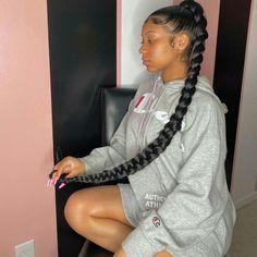 Black Girl Braided Hairstyles, Black Girl Braids, Sleek Hairstyles, Baddie Hairstyles, Braids For Black Hair, Girl Hairstyles, Slick Ponytail, Hair Ponytail Styles, Cute Ponytails