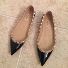 Valentino rockstud patent leather flats Black patent leather with nude trim and gold studs. Bottoms are worn but shoes are in perfect condition. Shoes will come with original dust bag and original box Valentino Shoes Flats & Loafers