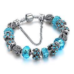 European Crystal Charm Bracelets
