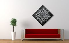 String & Nail Art 'The Snowflake'. Wall Art on Wood Home Decor. Unique embroidery mandala sacred geometry nature spiritual art ready to hang