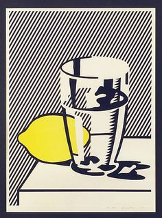Roy Lichtenstein, Untitled (Still Life with Lemon and Glass), 1974 modern art, pop art Roy Lichtenstein Pop Art, Robert Rauschenberg, Jasper Johns, Arte Pop, Andy Warhol, Juan Sanchez Cotan, Illustration Art, Illustrations, Wassily Kandinsky