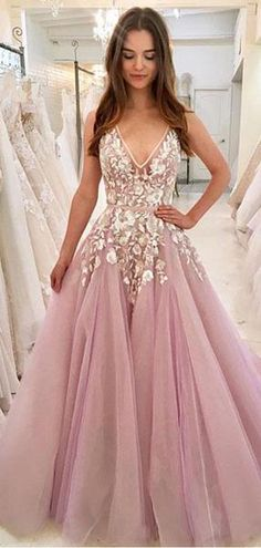 Cheap V Neck A-line Lace Pink Long Evening Prom Dresses a9644ab28f08