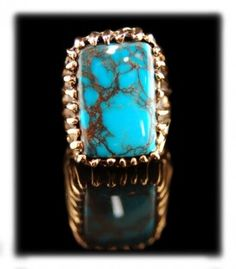 Gold and Spider Web Bisbee Mens Turquoise Ring