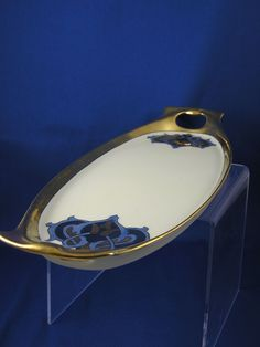 """RS Tillowitz Silesia Art Deco Handled Serving Tray (Signed """"H.M. Henrie""""/c.1904-1938)"""