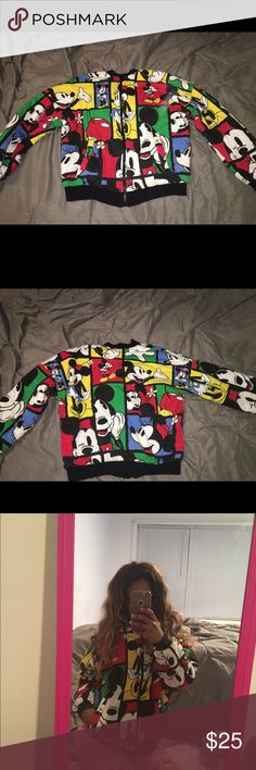 Forever 21 Mickey & Minnie Mouse collection jacket Brand : Forever 21 ( Mickey and Minnie Mouse collection )                                                                  Size : Small / Runs: Big  )                                                                  Material: Cotton  Only wore a few times like new Forever 21 Jackets & Coats