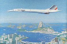 AK AIRLINE POSTCARD - AIR FRANCE Concorde over Rio de Janeiro /artist impression