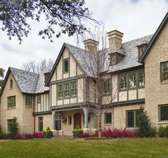 Private Residence - English / Tudor - traditional - exterior - dallas - Fusch Architects, Inc. Tudor House, Tudor Cottage, Cottage Homes, English Tudor, English Style, Exterior Paint Colors, Exterior Design, Stucco Colors, Foyers