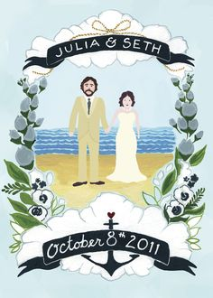 My wedding invite! Illustrated by Lindsey Fyfe. Beach wedding with anemones