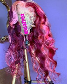 Sew In Wig, Half And Half Hair, Brazilian Lace Front Wigs, Creative Hair Color, Colored Wigs, Aesthetic Hair, Half Wigs, Hair Laid, Creative Hairstyles