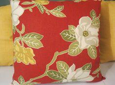 Magnolia Home Fashions red brick yellow flowers pillow by Alethias, $32.00