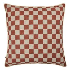 The Bonnie and Neil Small Checkers Terracotta 60cm cushion features original artwork by Bonnie hand screen printed on white linen. The reverse of the cushion features the same design printed on oat linen. #cushion #cushions #bonnieandneil #nochintz #softfurnishings #textiles #interior #interiordecorating