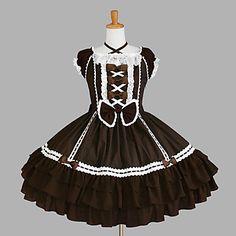 Straped Short Sleeve Knee-length Brown Cotton Sweet Lolita Dress – USD $ 119.99