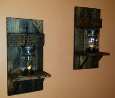 rustic Candle Holder Mason jar wall candle by TeesTransformations Mason Jar Candle Holders, Rustic Candle Holders, Rustic Candles, Candle Holders Wedding, Wall Candle Holders, Mason Jar Candles, Mason Jar Lamp, Wood Sconce, Candle Sconces