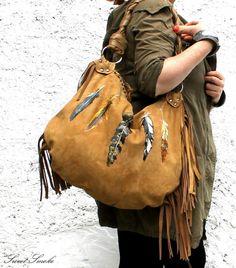 Fringe fringed feathers suede bag gypsy boho by SweetSmokebags, $249.00