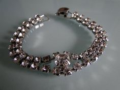 Double Strand Glass Rhinestones Rhinestone Bracelet by tintiara, $27.00