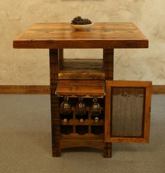 Reclaimed Barnwood Pub Table with Wine Cabinet - Rustic Furniture