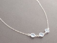 ♥ Swarovski Light Sapphire Channels silver Plated measuring 6.2mm  ♥ Chain length is 16 inches (total length)