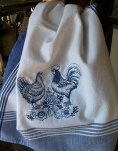 Blue and White ~ French Country Toile rooster and hen embroidered kitchen dish towel