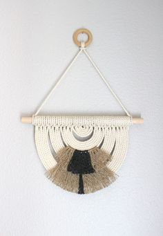 "Macrame Wall Hanging ""Energy Flow no.30"" by HIMO ART, One of a kind Handcrafted Macrame/Rope art"