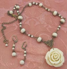 Gather Love Ivory Rose Necklace Victorian Jewelry